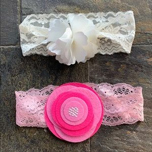 Stretch Lace Headband with Flower Bundle
